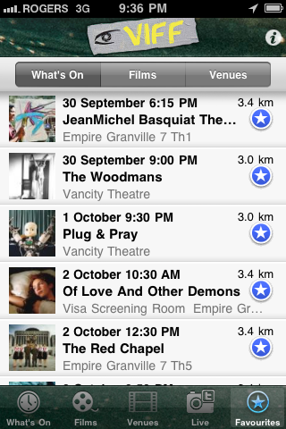 screenshot of VIFF app