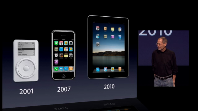 steve jobs at keynote, ipod, iphone, ipad`